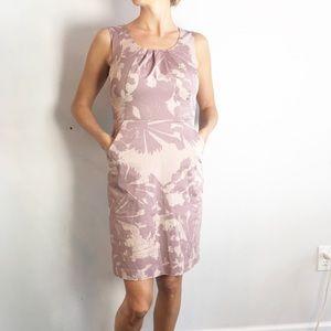 Loft Sleeveless Purple Foral Pocket Sheath Dress 0